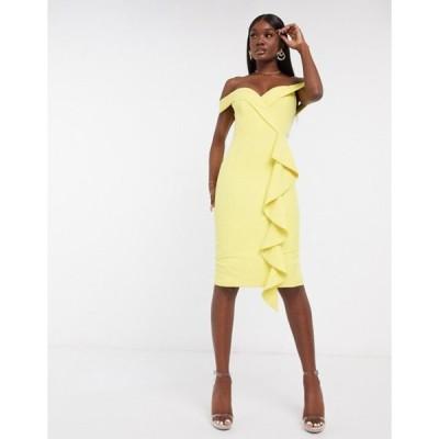 ラビッシュアリス レディース ワンピース トップス Lavish Alice bardot frill midi dress in yellow
