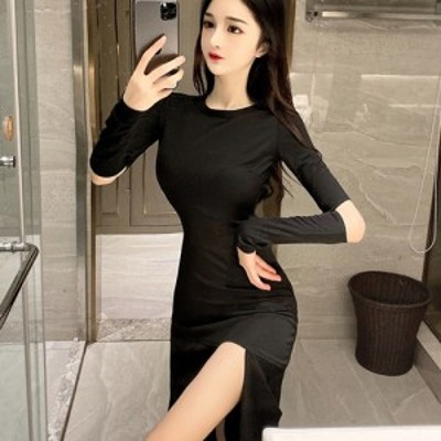 キャバ ドレス キャバドレス ワンピース ミディアムドレス カット クール シンプル ストレッチ しっかり ブラック S M L XL