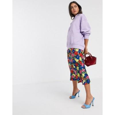エイソス ASOS DESIGN レディース ひざ丈スカート スカート satin bias midi skirt in bright floral print