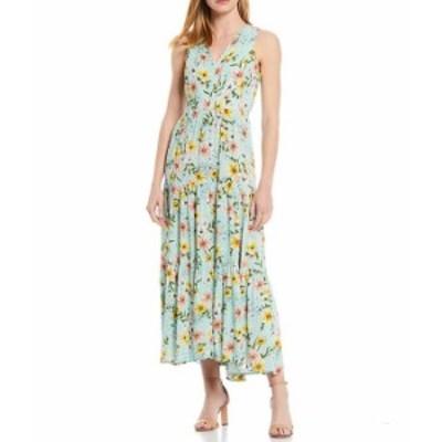 カルバンクライン レディース ワンピース トップス Sleeveless Floral Tie Front Three Tier Dress Seas Multi