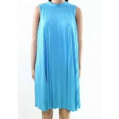 Shift  ファッション ドレス Context NEW Cenote Blue Women Size Small S Pleated Trapeze Shift Dress