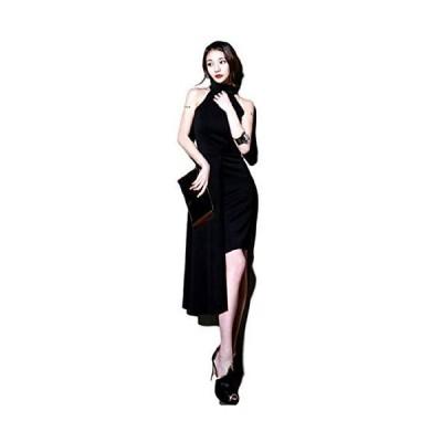 [ドナリー]ドレス ワンピース ホルターネック アシンメトリー スカート ブラック レディース (S)