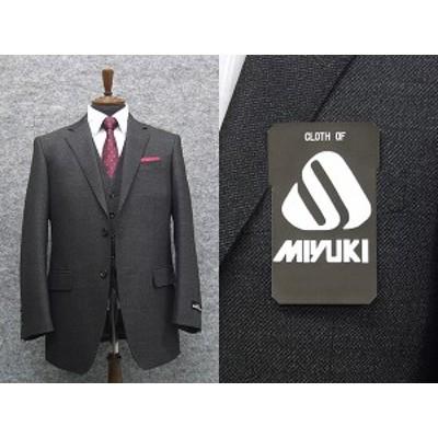 秋冬物 [MIYUKI] ミユキ スリーピース ベーシック2釦シングルスーツ グレー系杢柄 [AB体] MK4314-18