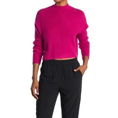 エロディー レディース ニット&セーター アウター Mock Neck Ribbed Crop Sweater FUSHIA