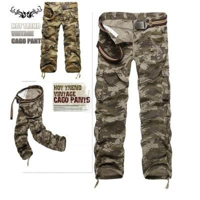 ワークパンツ カーゴパンツ メンズ 欧米風 カモフラ 作業ズボン 作業服 チノパンキャメルアウトドア 2色迷彩