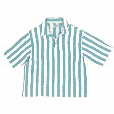 【中古】フリークスストア FREAKS STORE ストライプ ポロシャツ 五分袖 リネン混 サイズL ライトグリーン ▽8 メンズ