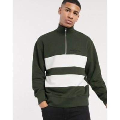 トップマン メンズ シャツ トップス Topman sweat with half zip in khaki & white stripe Khaki