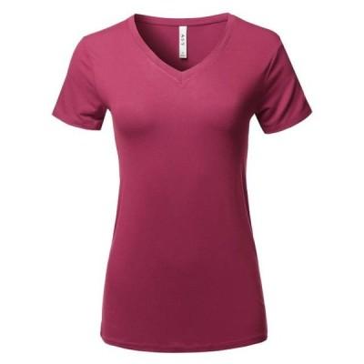 レディース 衣類 トップス A2Y Women's Basic Solid Premium Rayon Short Sleeve V-neck T Shirt Tee Tops Wine S ブラウス&シャツ