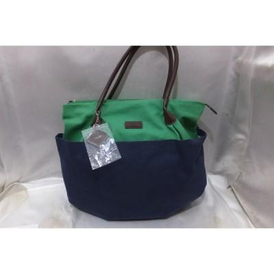 Paul Stuart ポール スチュアート 持ち手レザーキャンバストート タグ付き 保管品 未使用 ネイビーxグリーン バッグ