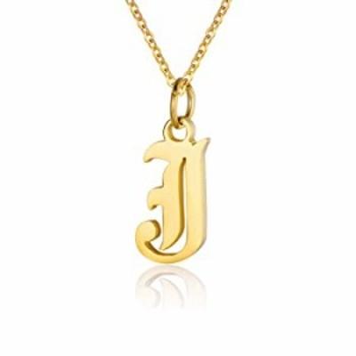 女性用レターネックレス 18Kゴールドメッキ イニシャルペンダント オールドイングリッシュネームネックレス A~Z ブライズメイドギフト
