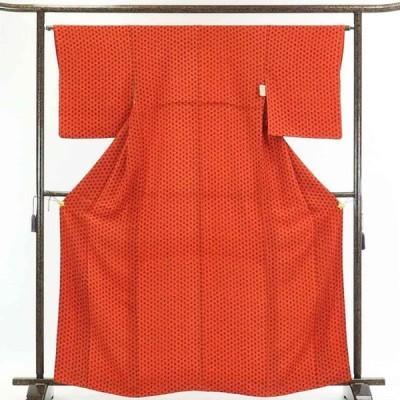 リサイクル着物 小紋 正絹朱赤地花柄袷小紋着物