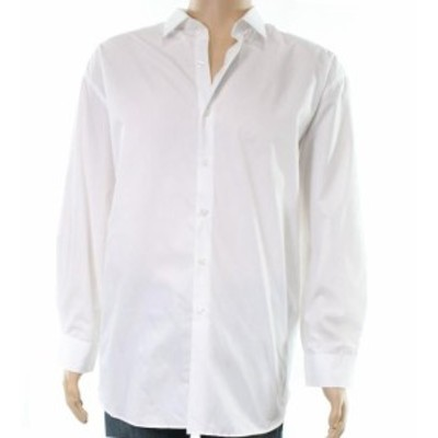 Alfani  ファッション ドレス Alfani White Mens Large L Performance Fitted Button Up Dress Shirt