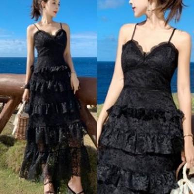 ブラックドレス ワンピース レディース キャミワンピース フリル レイタード お呼ばれドレス ドレス 20代 30代 40代 上品 総レース