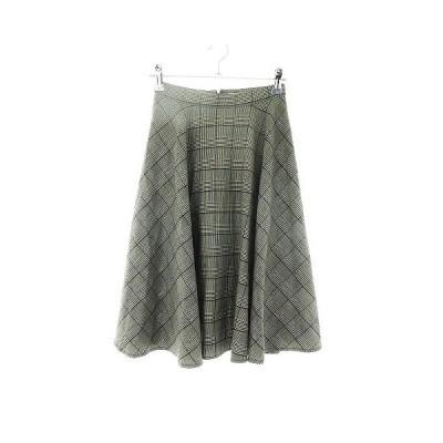 【中古】マウジー moussy スカート フレア ひざ丈 チェック 0 グレー /CK レディース 【ベクトル 古着】