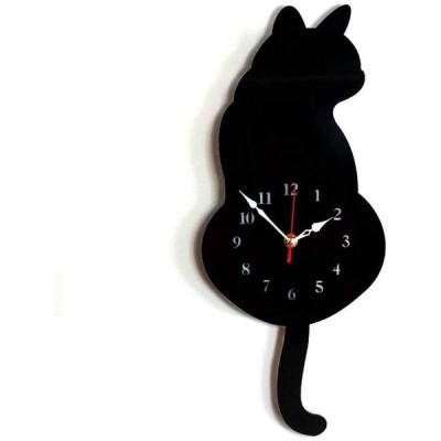 Artensky壁時計アクリルモダンかわいい猫時計揺れ尾家の装飾動き沈黙 (黒)