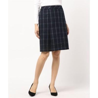 エムエフエディトリアルレディース/m.f.editorial:Women ウール混起毛チェック柄Aラインスカート(ネイビー)