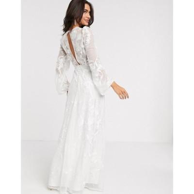 エイソス ASOS EDITION レディース パーティードレス ウェディングドレス ワンピース・ドレス embroidered wedding dress blouson sleeve アイボリー