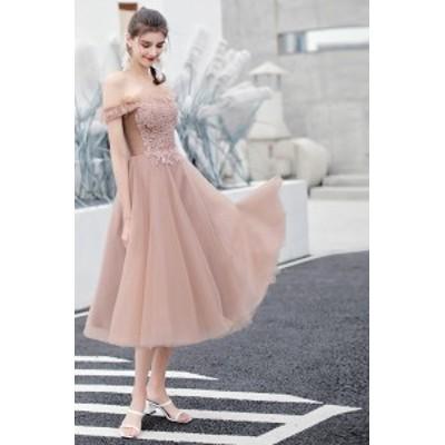 ウエディングドレス ブライダルドレス ブライズメイド パーティードレス 安い 可愛い 結婚式 披露宴 Aライン ミディアム【ミディアム】