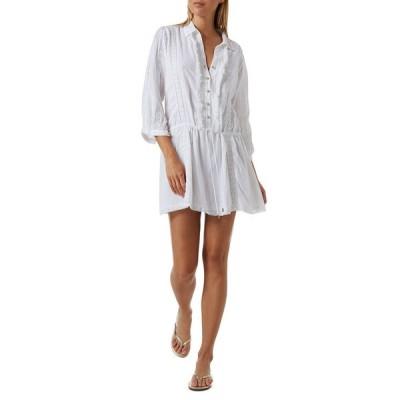 メリッサ オダバッシュ レディース ジャンプスーツ トップス Scarlett Fringe-Trim Button-Up Coverup Mini Dress