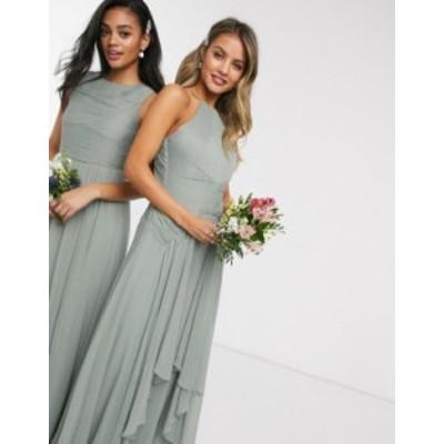 エイソス レディース ワンピース トップス ASOS DESIGN Bridesmaid pinny maxi dress with ruched bodice and layered skirt detail Oliv