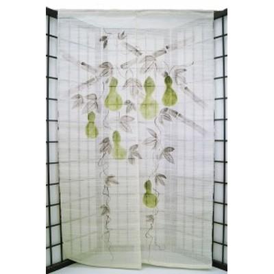 暖簾-のれん 麻100% 六瓢箪生成り n-436
