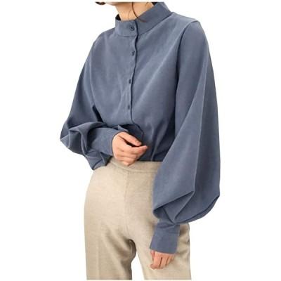 LG190 BL 青色 あお 可愛い かわいい トップス スタンダードカラー シャツ(ブルー, S)