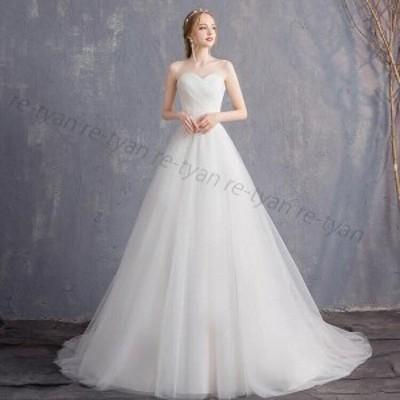 人気 ウェディングドレス 二次会 ロングドレス 花嫁 白 ブライダル 結婚式 プリンセスラインドレス パーティードレス 披露宴 撮影 編み上