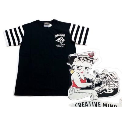 SALE skull works tシャツ SKULL WORKS×ベティ 半袖Tシャツ BTY-37 バイカーベティーTシャツ