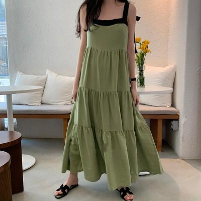 韓国ファッション/ワンピース レディース マキシ 无袖 ロング 大きいサイズ 無地 おしゃれ 可愛