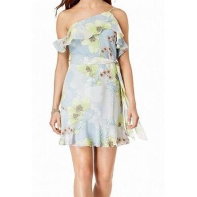 GUESS ゲス ファッション ドレス Guess Blue Womens Size Small S Floral Print Ruffled Sheath Dress