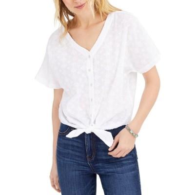 スタイル&コー Style & Co レディース トップス Petite Cotton Textured Tie-Front Top Bright White