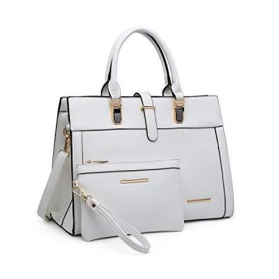 (新品) Women's Handbag Flap-over Belt Shoulder Bag Top Handle Tote Satchel Purse Work Bag w/Matching Wristlet (White)