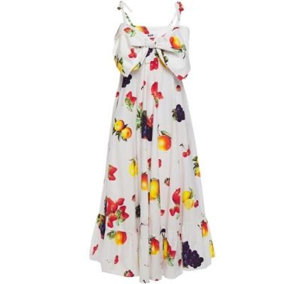 エムエスジーエム MSGM レディース ワンピース ミドル丈 ワンピース・ドレス flared bow-embellished printed cotton-poplin midi dress White