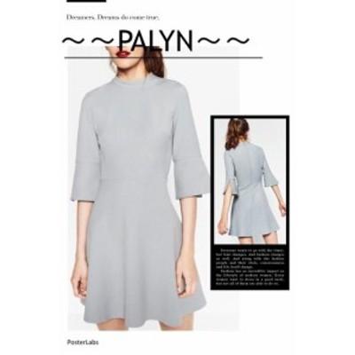 ファッション ドレス Rare_ NWT ZARA AW16 BLUE GREY A-LINE DRESS Party 1639/168_XS S M L