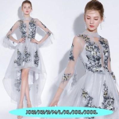 お呼ばれ パーティードレス フォーマルドレス 着痩せ 高級刺繍 結婚式ドレス 大人 上品 20代30代40代 不規則ワンピース グレー色
