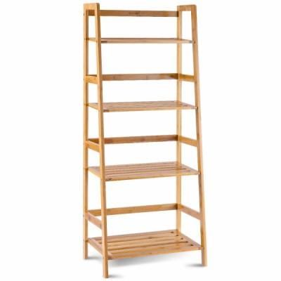 5層竹本棚収納棚陳列棚本棚植物竹ブラケット台形棚