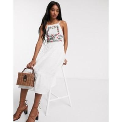 エイソス レディース ワンピース トップス ASOS DESIGN square neck tiered midi dress with lace and embroidery in white White