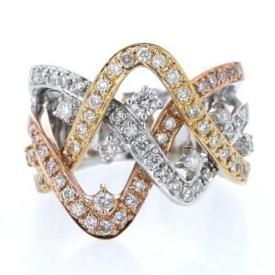 K18YG WG PG イエローゴールド スリーカラー リング ダイヤモンド 0.85ct ツイスト クロス 幅広 透かし 指輪 10.5号【新品仕上済】【zz】