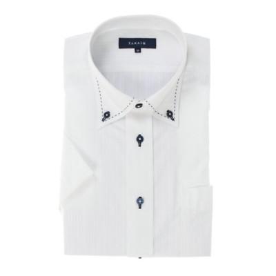 形態安定レギュラーフィットボタンダウン ハンドステッチ半袖ビジネスドレスシャツ
