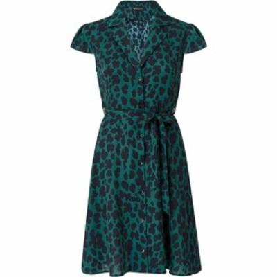 メラ ロンドン Mela London レディース ワンピース シャツワンピース ワンピース・ドレス Animal Printed Cap Sleeve Shirt Dress Green