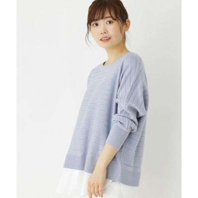 ニット 【M-LL】レイヤード風ボーダー編み柄ニット