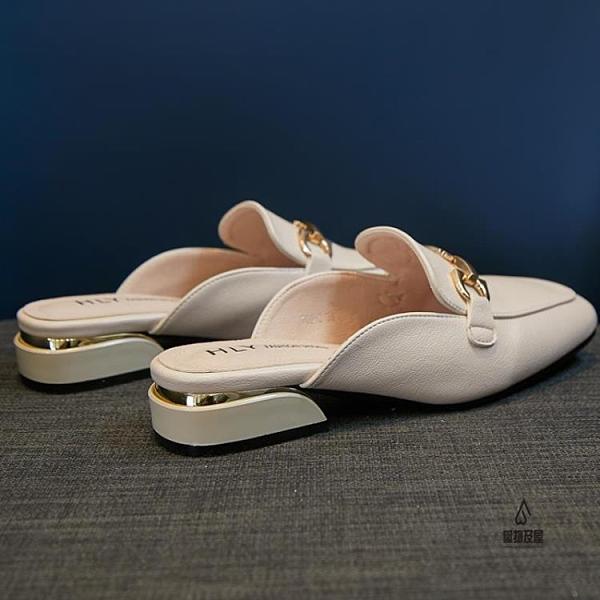 百搭半托單鞋中跟包頭半拖鞋女夏外穿時尚穆勒鞋涼拖【愛物及屋】