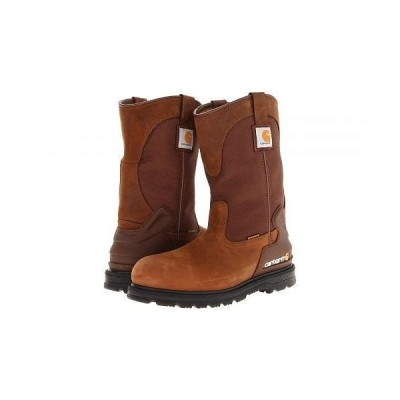 "Carhartt カーハート メンズ 男性用 シューズ 靴 ブーツ 安全靴 ワーカーブーツ 11"" Waterproof Steel Toe Wellington Boot - Brown Oil Tan"