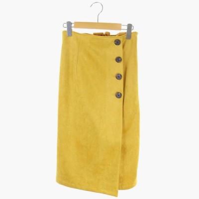 【中古】ローズバッド ROSE BUD タイトスカート ロング フェイクスエード カラー F 黄色 イエロー /AO ■OS レディース 【ベクトル 古着】