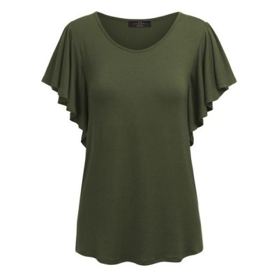 レディース 衣類 トップス MBJ WT1198 Womens Round Neck Short Ruffle Sleeve T Shirt S OLIVE グラフィックティー