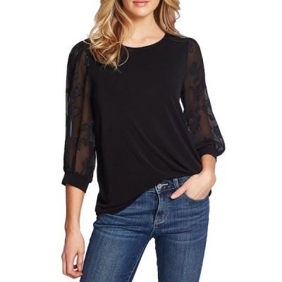 セセ レディース シャツ トップス Floral Clip 3/4 Sleeve Knit Top Rich Black