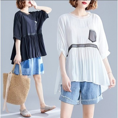 春夏新作 ファッショントップス ホワイト/ブラック2色展開