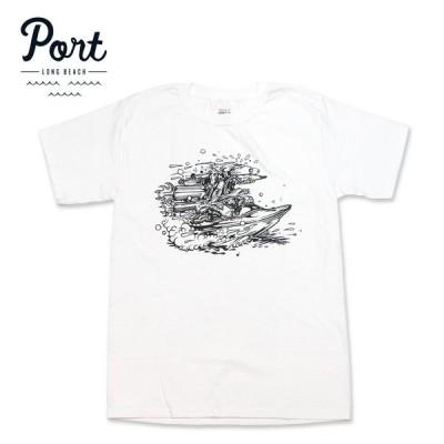 PORT LONG BEACH Tシャツ リバーラット RIVER RAT ヘインズボディ ポート ホワイト