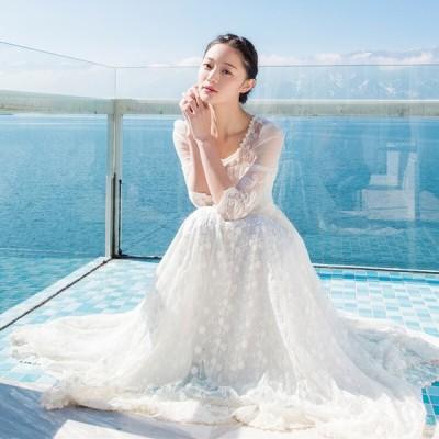 パーティードレス 安い 可愛い イブニングドレス ロングドレス エレガント 結婚式ドレス きれい 大人 レース ホワイト 白