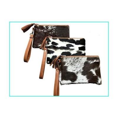 """【新品】Real Cowhide Handbag Wristlet Clutch Purse Wallet Black Brown Leather Lined Double Sided 8.5""""x5.5""""(並行輸入品)"""